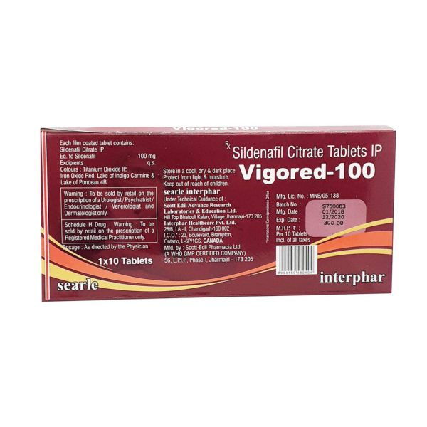 Sildenafil Citrate Vigored-100 Tablets