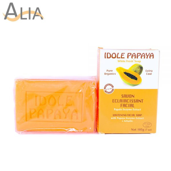 Idole papaya whitening facial soap with papaya enzyme extract (105g) 1
