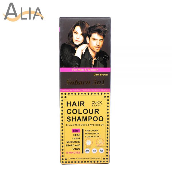 Subaru 3 in 1 hair colour shampoo dark brown enriched with olive & avocado oil (200ml)