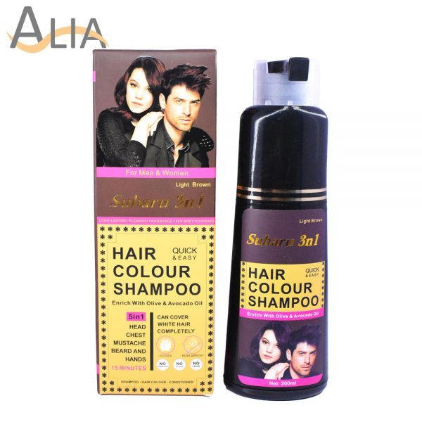 Subaru 3 in 1 hair colour shampoo light brown enriched with olive & avocado oil (200ml) 1