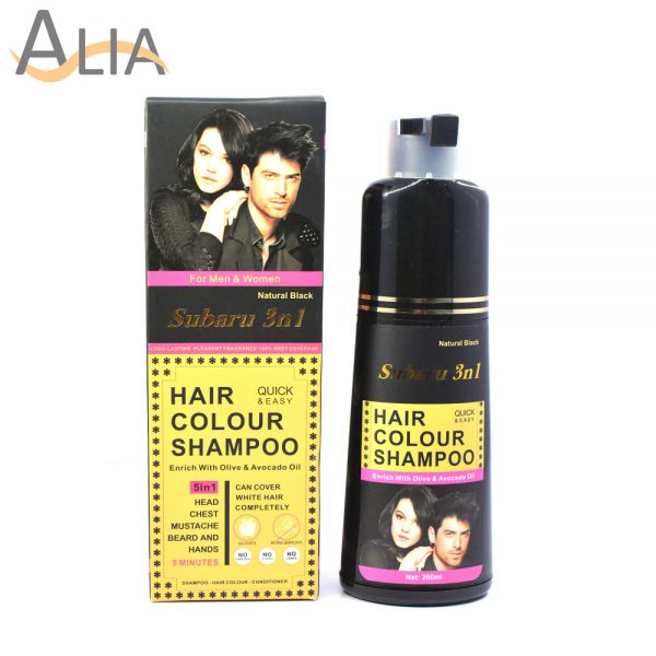 Subaru 3 in 1 hair colour shampoo natural black enriched with olive & avocado oil (200ml) 1
