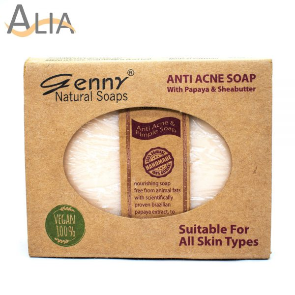 Genny natural anti acne soap with papaya & sheabutter.