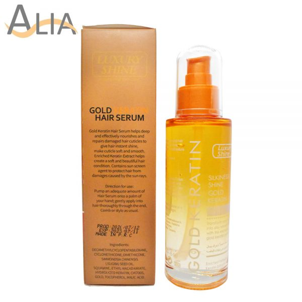 Luxury shine gold keratin hair serum (100ml).