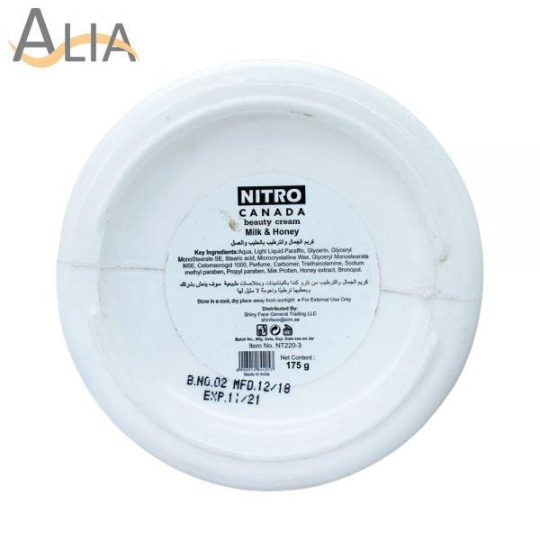 Nitro canada beauty cream milk & honey 175g.