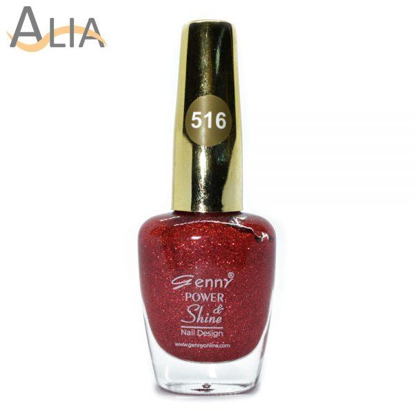 Genny nail polish (316) red glitter color