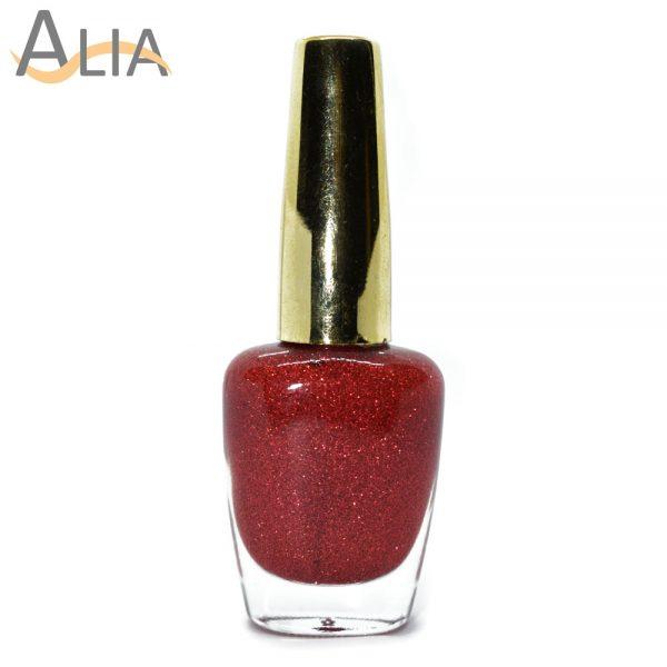 Genny nail polish (316) red glitter color.