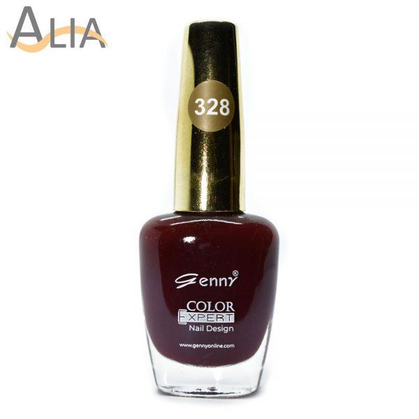 Genny nail polish (328) pure maroon color