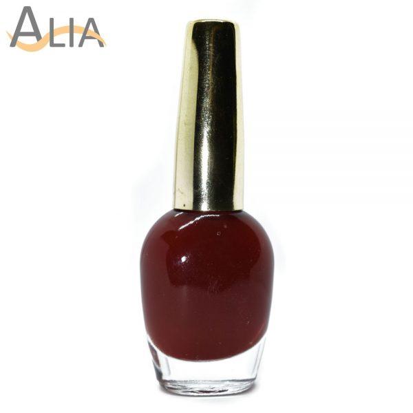 Genny nail polish (338) dark maroon color.
