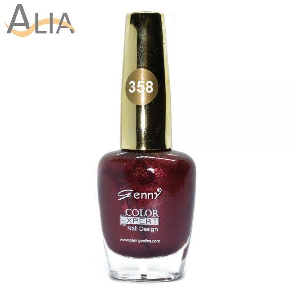 Genny nail polish (358) shimmery dark brown color