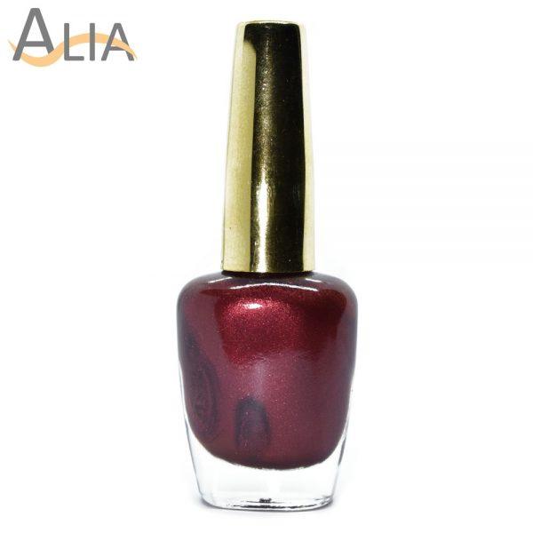 Genny nail polish (358) shimmery dark brown color.