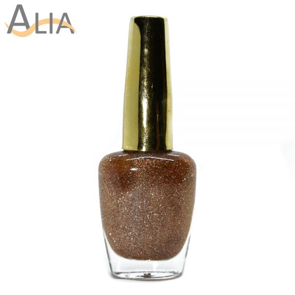 Genny nail polish (501) gold & red glitter color.