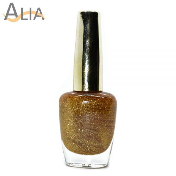 Genny nail polish (502) gold glitter color.
