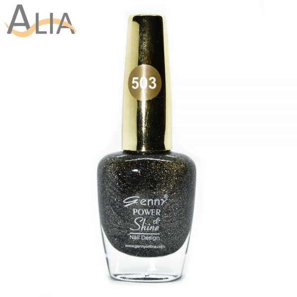 Genny nail polish (503) black & gold glitter color