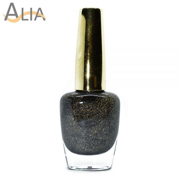 Genny nail polish (503) black & gold glitter color.