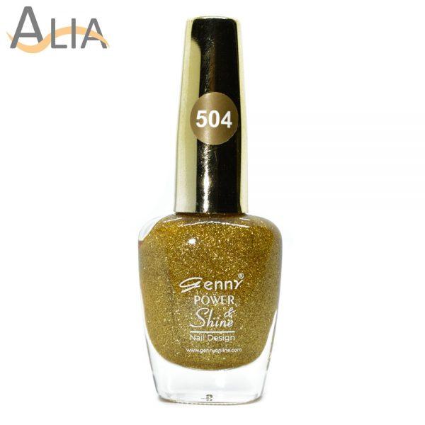 Genny nail polish (504) bright gold glitter color