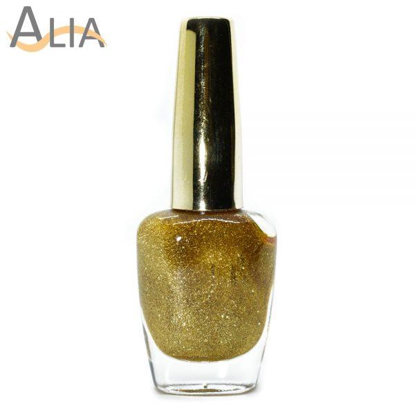 Genny nail polish (504) bright gold glitter color.