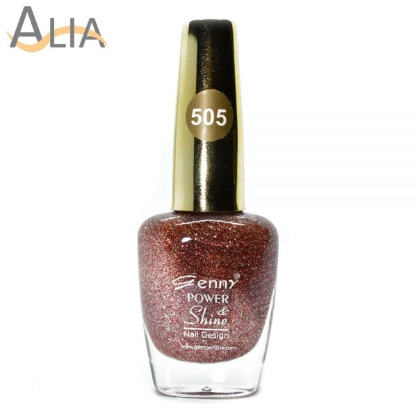 Genny nail polish (505) red & golden glitter color