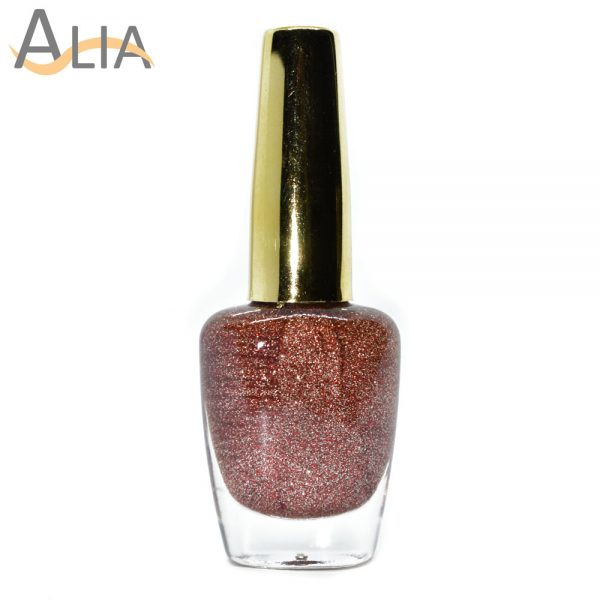 Genny nail polish (505) red & golden glitter color.