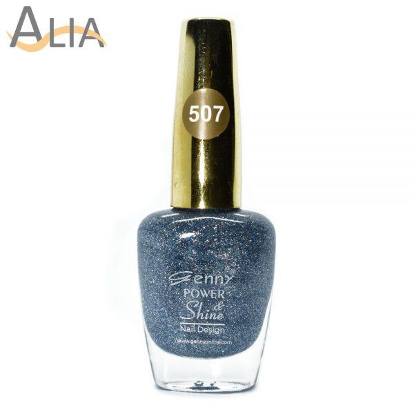Genny nail polish (507) light blue glitter color