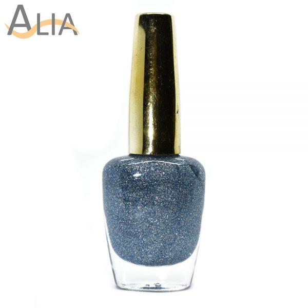 Genny nail polish (507) light blue glitter color.