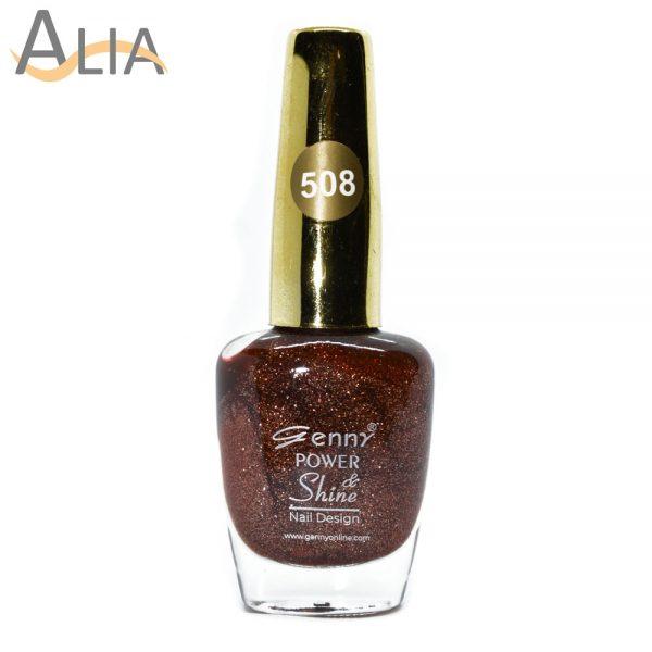 Genny nail polish (508) brown glitter color