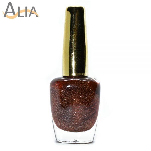Genny nail polish (508) brown glitter color.