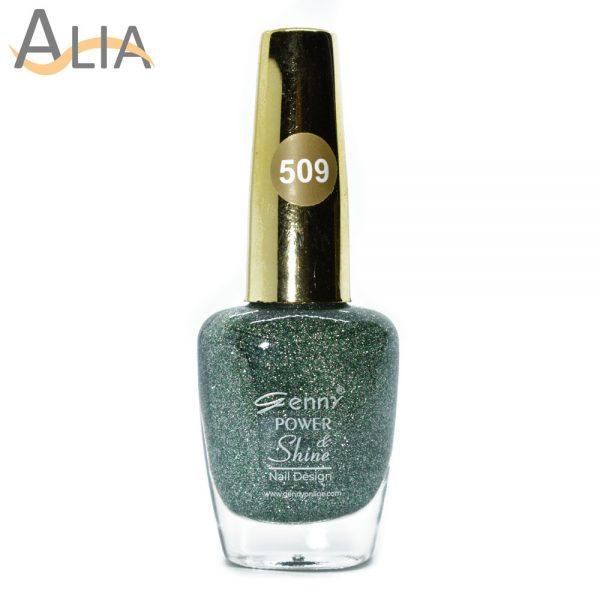 Genny nail polish (509) green glitter color