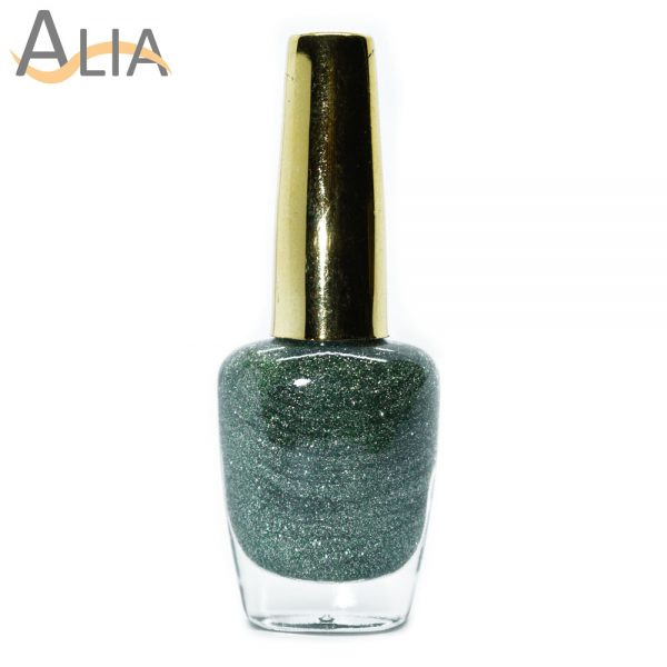 Genny nail polish (509) green glitter color.