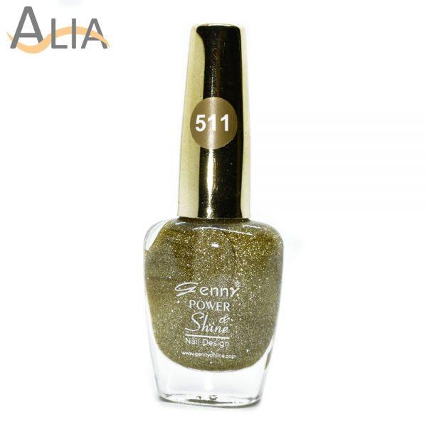 Genny nail polish (511) light golden glitter color