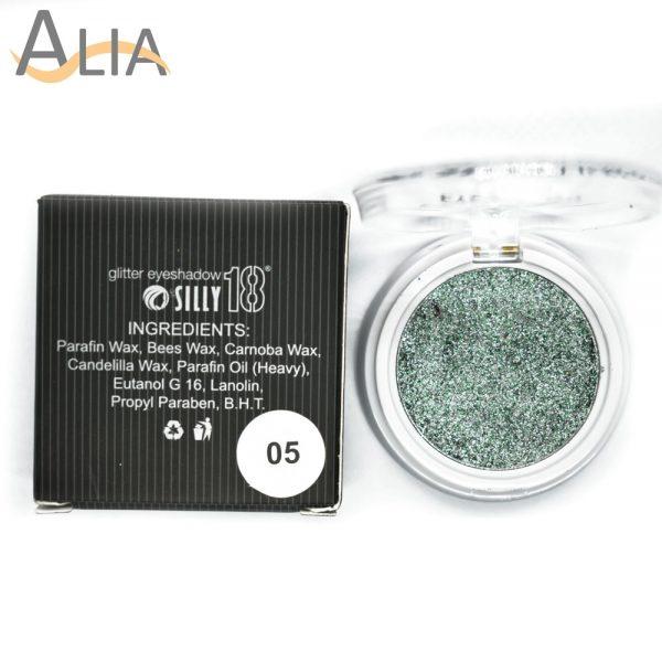 Silly18 glitter eyeshadow shade 05 greenish.