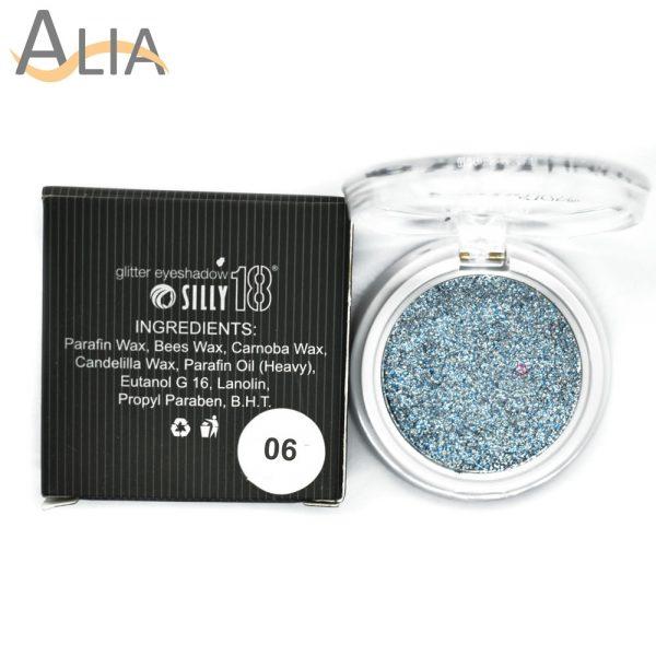 Silly18 glitter eyeshadow shade 06 blue